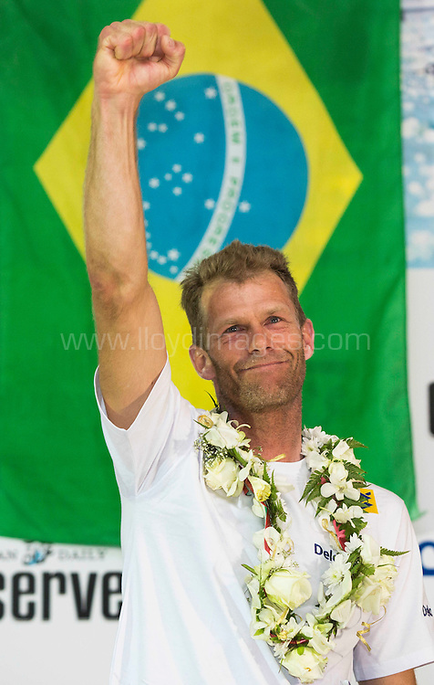 The Laser World Championships 2013 -  Standard. Mussanah Oman<br /> Robert Scheidt (BRA) shown here celebrating after winning the championships<br /> Credit: Lloyd Images.