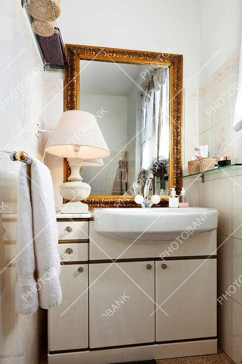 interior apartment, small loft furnished, bathroom
