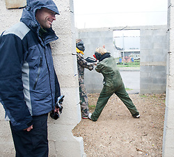 Amnon Darsa watches students on day two on the Train & Travel in Israel, on Saturday 1st Jan 2011, at the Olympic shooting academy. The students practised gun defenses with real paintball guns for added realism. Train & Travel is a unique ten day program designed for IKMF's instructors, students & guests, interested in combining Krav Maga training with a tour of the holy land. Saturday 1st Jan 2011 at the Olympic shooting academy..©2011 Michael Schofield. All Rights Reserved.