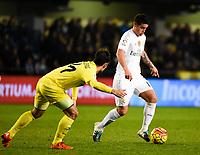 Villarreal CF's M. Trigueros and Real Madrid's James Rodriguez during La Liga match. December 13, 2015. (ALTERPHOTOS/Javier Comos)
