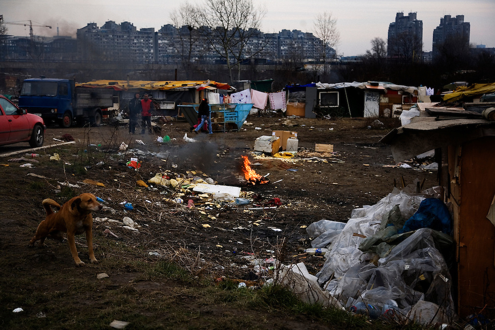 A fire burning electrical cord in the New Belgrade Roma settlement Belville.