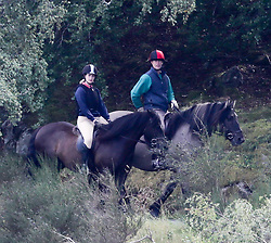 EXCLUSIVE Notice Please Read Rights Usage Terms;<br /> <br /> Pic Shows;Prince Edward and daughter Lady Louise out Riding today on the Balmoral Estate.in Scotland .<br /> <br /> PICTURES TAKEN FROM A PUBLIC ROAD<br /> <br /> <br /> These Pictures are for use on Printed Media or That company,s Website.No Social media use.Without Prior Consent from the Copyright Owner.Please see Rights Usage Terms.<br /> <br /> <br /> Prince Edward and his daughter Lady Louise are seen enjoying a horse ride through the Balmoral Estate, 29 August 2018 (Pictures taken from a public road).<br /> <br /> <br /> <br /> <br /> 