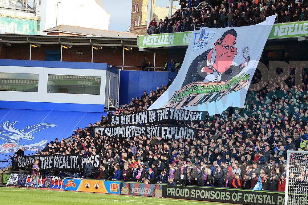Crystal Palace's fans unfurl an anti Premier League banner<br /> <br /> Barclays Premier League - Crystal Palace  vs Arsenal  - Selhurst Park - England - 21st February 2015 - Picture David Klein/Sportimage