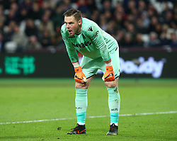 April 16, 2018 - London, England, United Kingdom - Stoke City's Jack Butland.during English Premier League match between West Ham United and Stoke City at London stadium, London, England on 16 April 2018. (Credit Image: © Kieran Galvin/NurPhoto via ZUMA Press)
