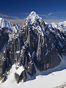 Aerial view Mt. Bradley on the west side of The Great Gorge, Ruth Glacier, Denali National Park, Alaska.