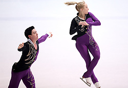 03.12.2015, Dom Sportova, Zagreb, CRO, ISU, Golden Spin of Zagreb, Kurzprogramm, Paare, im Bild Caitlin Fields - Ernie Utah Stevens, USA // during the 48th Golden Spin of Zagreb 2015 Pairs Short Program of ISU at the Dom Sportova in Zagreb, Croatia on 2015/12/03. EXPA Pictures © 2015, PhotoCredit: EXPA/ Pixsell/ Igor Kralj<br /> <br /> *****ATTENTION - for AUT, SLO, SUI, SWE, ITA, FRA only*****
