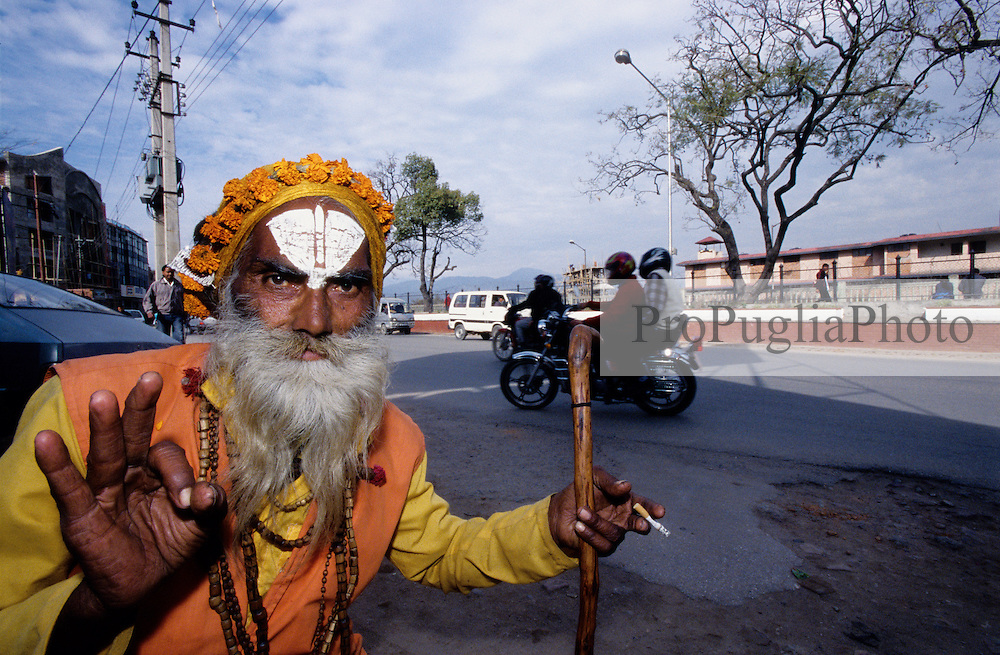 Kathmandu, 17 February 2005. A Shadu-Baba on the street of the capital.