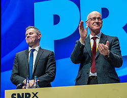 Pictured: Derek Mackay, Cabinet Secretary for Finance and the Constitution and John Swinney, Deputy First Minister<br /> The members of the SNP gathered in the Scottish Events Centre in Glasgow for their annual conference.<br /> <br /> The Ger Harley | EEm 9 October 2017