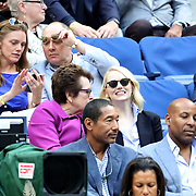 2017 U.S. Open Tennis Tournament - DAY THIRTEEN.  Billie Jean King and Emma Stone at the Women's Final match between Sloane Stephens of the United States and Madison Keys of the United States during the Women's Singles Final at the US Open Tennis Tournament at the USTA Billie Jean King National Tennis Center on September 09, 2017 in Flushing, Queens, New York City.  (Photo by Tim Clayton/Corbis via Getty Images)