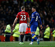 Luke Shaw of Manchester United reacts to Ross Barkley of Everton during the English Premier League match at Old Trafford Stadium, Manchester. Picture date: April 4th 2017. Pic credit should read: Simon Bellis/Sportimage