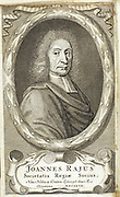 John Ray (1627-1795) English naturalist born at Black Notley, Essex. Pioneer of plant taxonomy  (classification). Engraving by William Elder (1680-1700) for the frontispiece of an edition of 'Methodus Plantarum Novum' by John Ray, first published London 1682.