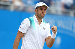Luxembourg's Gilles Muller celebrates winning the 2nd set against Croatia's Marin Cilic during day six of the 2017 AEGON Championships at The Queen's Club, London.