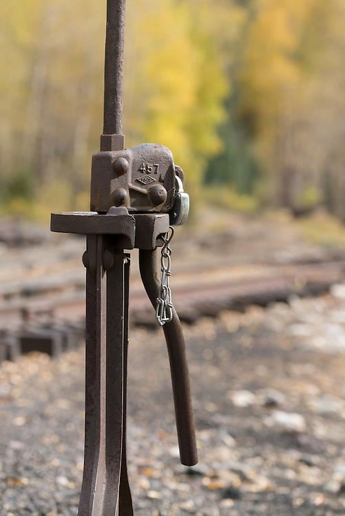 Rail switch, Durango & Silverton Narrow Gauge Railroad, Colorado.