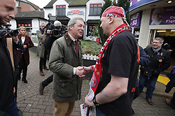© Licensed to London News Pictures . 03/02/2017. Stoke-on-Trent, UK . Former UKIP leader Nigel Farage joins current leader Paul Nuttall , during Nuttall's campaign to win the seat of Stoke-on-Trent Central . Photo credit: Joel Goodman/LNP