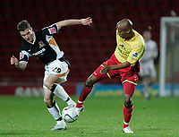 Photo: Marc Atkins.<br /> Watford v Hull City. Carling Cup. 24/10/2006.<br /> Ryan France of Hull battles with Jordan Stewart of Watford.