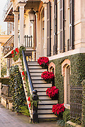 Christmas poinsettias decorate a historic home in Savannah, GA.