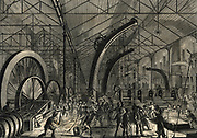Rolling armour plate, Cyclops steel works Sheffield, England. Engraving 1870