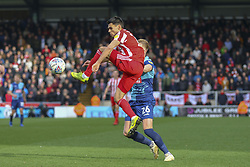 March 9, 2019 - High Wycombe, Buckinghamshire, United Kingdom - Sunderlands Reece James wins a high challenge during the Sky Bet League 1 match between Wycombe Wanderers and Sunderland at Adams Park, High Wycombe, England  on Saturday 9th March 2019. (Credit Image: © Mi News/NurPhoto via ZUMA Press)
