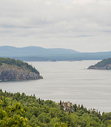 View of Frenchman Bay, Bald Porcupine Island and Long Porcupine Island, from Cadillac Mountain on an overcast day, Mount Desert Island, Acadia National Park, Maine, USA.