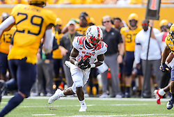 Sep 14, 2019; Morgantown, WV, USA; North Carolina State Wolfpack wide receiver Tabari Hines (5) catches a pass during the second quarter against the West Virginia Mountaineers at Mountaineer Field at Milan Puskar Stadium. Mandatory Credit: Ben Queen-USA TODAY Sports