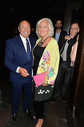 ARNOLD CROOK and JEANNE MANDRY at the West End opening night of 'Great Britain' a  play by Richard Bean held at The Theatre Royal, Haymarket, London followed by a post show party at Mint Leaf, Suffolk Place, London on 26th September 2014.