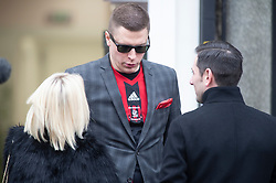 ©Licensed to London News Pictures 30/01/2020<br /> Orpington, UK. Funeral procession leaving from funeral directors Valentine and Turner in Orpington high Street,Kent. The Funeral of thirty three year old father-of-four and firefighter Anthony Knott from Orpington,Kent. His body was found in the water at Denton Island, Sussex three weeks after he went missing on a night out in Lewes, East Sussex in December 2019. Photo credit: Grant Falvey/LNP