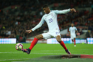 Marcus Rashford of England tries to keep the ball in play.  England v Spain, Football international friendly at Wembley Stadium in London on Tuesday 15th November 2016.<br /> pic by John Patrick Fletcher, Andrew Orchard sports photography.
