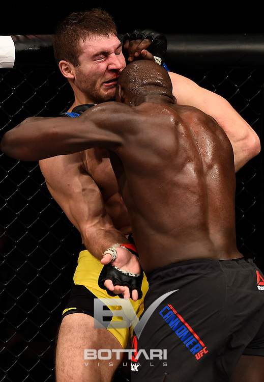 LAS VEGAS, NV - DECEMBER 03:  (R-L) Jared Cannonier battles Ion Cutelaba of Moldova in their light heavyweight bout during The Ultimate Fighter Finale event inside the Pearl concert theater at the Palms Resort & Casino on December 3, 2016 in Las Vegas, Nevada. (Photo by Jeff Bottari/Zuffa LLC/Zuffa LLC via Getty Images)