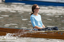 The Duchess of Cambridge takes part in a rowing race between teams representing the twinned towns of Heidelberg and Cambridge in Heidelberg, Germany, on day three of their five-day tour of Poland and Germany.