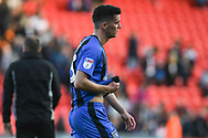 Callum Reilly of Gillingham (13) looks distraught after his side conceded late on to draw 3-3 during the EFL Sky Bet League 1 match between Doncaster Rovers and Gillingham at the Keepmoat Stadium, Doncaster, England on 20 October 2018.
