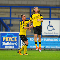 TELFORD COPYRIGHT MIKE SHERIDAN 13/10/2018 - GOAL. Josh Wilson (formerly of AFC Telford) celebrates after scoring to make it 1-0 during the Vanarama National League North fixture between AFC Telford United and Chorley