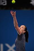 Brisbane, Australia, December 30: Jelena Jankovic of Serbia serves during a training session at Pat Rafter Arena ahead of the 2012 Brisbane International Tennis Tournament in Brisbane, Australia on Friday December 30th, 2011. (Photo: Matt Roberts/Photo News)