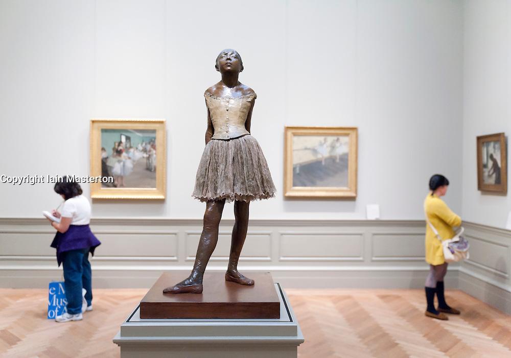 Sculpture the Little Fourteen Year Old  Dancer by Degas at Metropolitan Museum of Art in Manhattan , New York City, USA