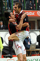 """Esultanza di Filippo Inzaghi (Milan) dopo il gol.<br /> Milano, 21/03/2010 Stadio """"Meazza""""<br /> Milan-Napoli.<br /> Campionato Italiano Serie A 2009/2010<br /> Foto Nicolo' Zangirolami Insidefoto"""