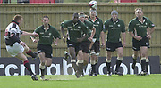 Sport - Rugby 27/04/2002 Parker Pen Shield - Semi-Final<br /> London Irish vs Pontypridd - Kassam Stadium - Oxford<br /> London Irish run out as Ceri Sweeney for Pontypridd converts the opening minutes try,
