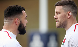 England's Ellis Genge and Mark Wilson during the training session at Pennyhill Park, Bagshot.