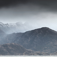 The view across Loch Scavaig to the Cuillin on a blustery, overcast day. The dark ridges and peaks were looking sharp and foreboding and a panoramic was called for to encompass the scene.