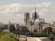 Notre Dame Cathedral with its flying buttresses in Paris France