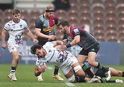 teven Luatua of Bristol Bears is tackled by Scott Baldwin of Harlequins - Mandatory by-line: Matt Impey/JMP - 26/12/2020 - RUGBY - Twickenham Stoop - London, England - Harlequins v Bristol Bears - Gallagher Premiership Rugby