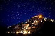 The Buddhist Monastery 'Thikse Gompa' is photographed at night along the Leh-Manali Highway.