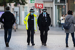 © Licensed to London News Pictures. 06/11/2020. Liverpool, UK. Two officers walk through Liverpool City Centre as the country continues in Lockdown. Photo credit: Kerry Elsworth/LNP