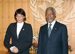 File Photo - HSH Princess Stephanie of Monaco meets with UN Secretary General Kofi Annan after addressing the General Assembly on HIV/AIDS at the United Nations Headquarters in New York, on Friday, June 2, 2006. Kofi Annan, the former UN secretary-general who won the Nobel Peace Prize for humanitarian work, has died aged 80, his aides say. Photo by Nicolas Khayat/ABACAPRESS.COM