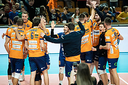 Players of ACH Volley during volleyball match between ACH Volley Ljubljana (SLO) and Kuzbas Kemerevo (RUS) n 2nd Round, group B of 2019 CEV Volleyball Champions League, on December 11, 2019 in Hala Tivoli, Ljubljana, Slovenia. Grega Valancic / Sportida