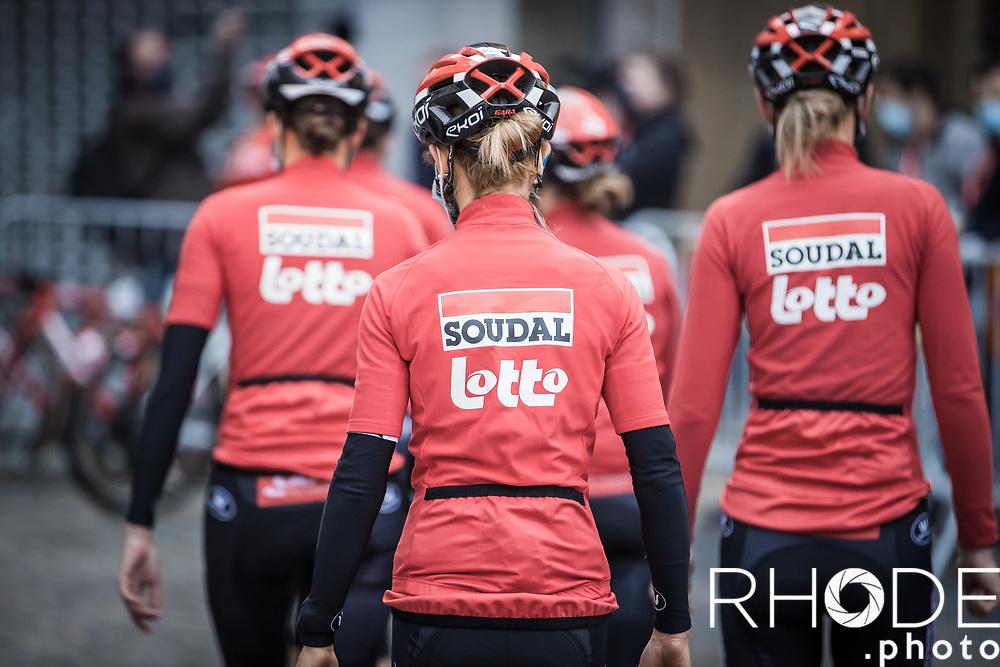 Team Lotto Soudal Ladies at the pre race team presentation<br /> <br /> 24th la Flèche Wallonne Féminin 2021 (1.UWT)<br /> 1 Day Race: Huy – Huy 130,5km<br /> <br /> ©RhodePhoto