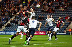Shaun MacDonald of Bournemouth fires a header at goal  - Mandatory byline: Matt McNulty/JMP - 07966386802 - 22/09/2015 - FOOTBALL - Deepdale Stadium -Preston,England - Preston North End v Bournemouth - Capital One Cup - Third Round