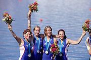 Sydney, AUSTRALIA, GBR W4X  Silver  Medallist on the awards dock, at the 2000 Olympic Regatta, Penrith Lakes. [Photo Peter Spurrier/Intersport Images]  [right to left] BATTEN Guin, LINDSAY Gillian Anne, GRAINGER Katherine, BATTEN Miriam. 2000 Olympic Regatta Sydney International Regatta Centre (SIRC) 2000 Olympic Rowing Regatta00085138.tif