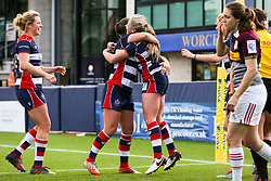 Chantelle Miell of Bristol Ladies scores a try - Rogan Thomson/JMP - 23/04/2017 - RUGBY UNION - Sixways Stadium - Worcester, England - Bristol Ladies Rugby v Aylesford Bulls - Women's Premiership Final.