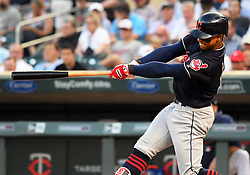 May 31, 2018 - Minneapolis, MN, U.S. - MINNEAPOLIS, MN - MAY 31: Cleveland Indians Shortstop Francisco Lindor (12) hits a 3-run home run on the top of the 4th during a MLB game between the Minnesota Twins and Cleveland Indians on May 31, 2018 at Target Field in Minneapolis, MN. The Indians defeated the Twins 9-8.(Photo by Nick Wosika/Icon Sportswire) (Credit Image: © Nick Wosika/Icon SMI via ZUMA Press)