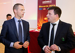 Aleksander Ceferin and Ales Zavrl during the Final Round Draw of 11th UEFA European U17 Championship 2011/12, on April 4, 2012, in Ljubljana, Slovenia. (Photo by Vid Ponikvar / Sportida.com)