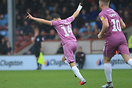 GOAL Ollie Rathbone turns away after making it 3-2 during the EFL Sky Bet League 1 match between Scunthorpe United and Rochdale at Glanford Park, Scunthorpe, England on 8 September 2018.
